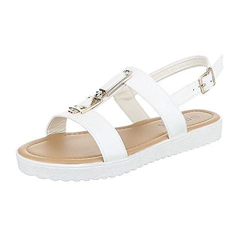 Komfortsandalen Damen-Schuhe Römersandalen Riemchen Schnalle Ital-Design Sandalen / Sandaletten Weiß, Gr 39, Hs-17-