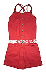 Evesfashion Girls Romper (843202000_RD_3, Red, 3-4 Years)
