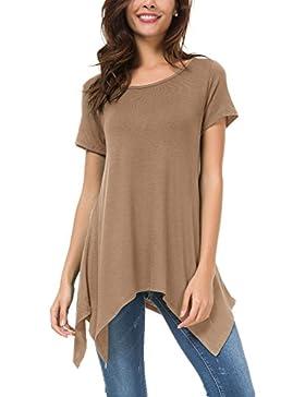 Urban GoCo Mujeres Casual Tallas Grandes Camiseta Camisa Manga Corta Pañuelo Dobladillo Túnica Top