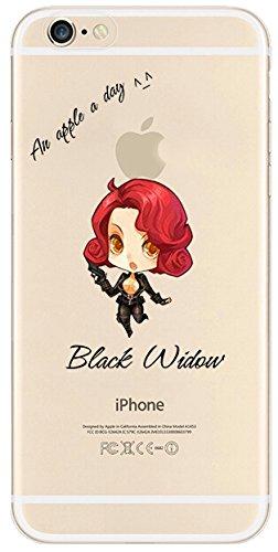 """Schutzhülle für Apple iPhone 5 / 5S / 5C / 6S / 6Plus / 6S Plus, aus transparentem TPU-Kunststoff, mit Comic-Motiv aus Marvel's """"Avengers"""", plastik, Batman, APPLE IPHONE 6 + BLACK WIDOW"""