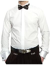 03255209aa9b Pierre Martin Designer Smokinghemd Weiß mit Schwarzer Fliege Herren Hemd  Manschettenknöpfe mit Smoking Kragen Bügelfrei…