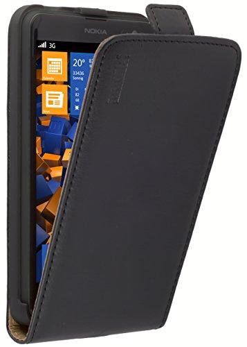 mumbi Echt Leder Flip Case kompatibel mit Nokia Lumia 625 Hülle Leder Tasche Case Wallet, schwarz