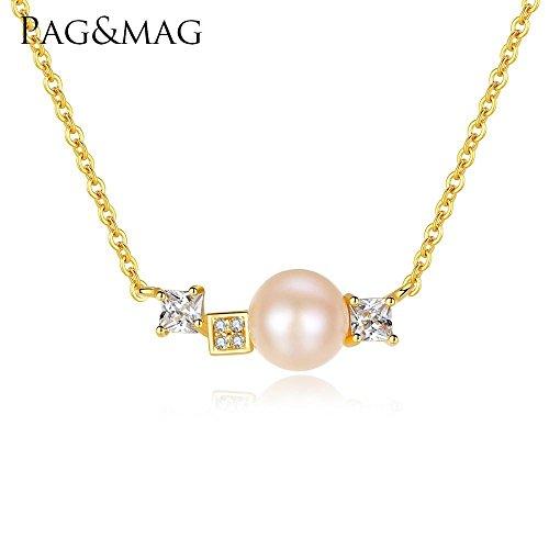 Haixin S925 argent Sterling collier clavicule chaîne naturelle perle pendentif chaîne longue 40 + 5 cm (réglable)