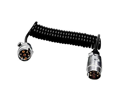 Verbindungskabel Spiralkabel 3,5m Länge mit 2 x Steckern Männlich 7 Polig