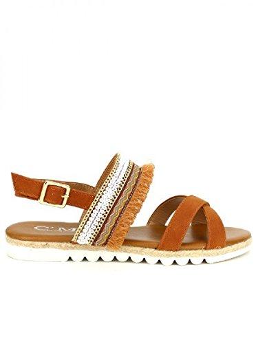 Cendriyon, Sandale camel C'M MODA Chaussures Femme Caramel