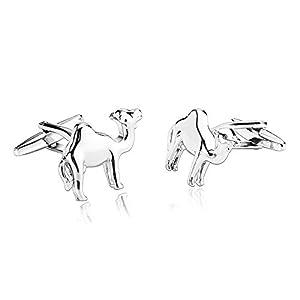 Aeici Silber Manschettenknöpfe Herren Ausführliches Einzelnes Buckel-Dromedar-Arabisches Kamel 2.3X1.8Cm
