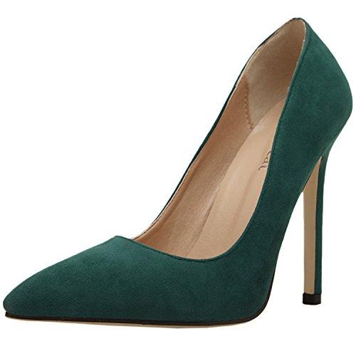 Oasap Damen Klassische Spitz Ohne Verschluss High Heels Pumps Green