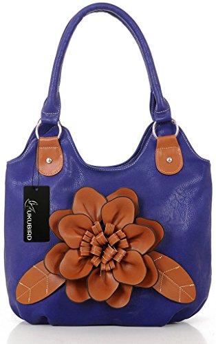 KukuBird ecopelle grande fiore modello donne tote, borsa a spalla Royal Blue
