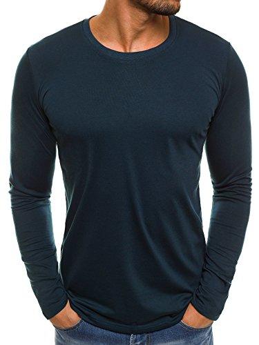 OZONEE Herren Longsleeve Langarmshirt Sweatshirt Motiv Basic J.Style 2088 XXL Indigo