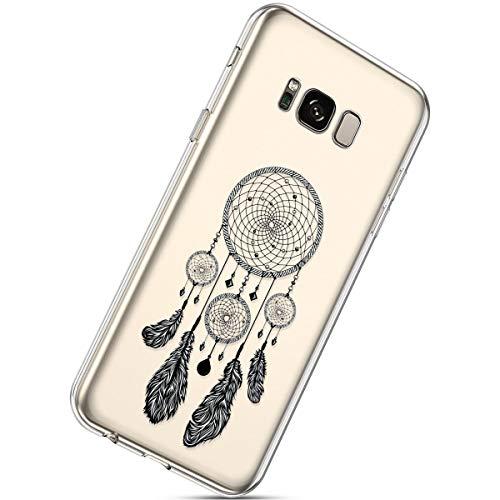 Herbests Kompatibel mit Samsung Galaxy S8 Handyhülle Transparent mit Bunt Muster Weiche Silikon Schutzhülle Durchsichtig Klar TPU Rückschale Crystal Clear Case Cover,Traumfänger