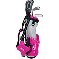'US Kids Golf Ultralight Series Set 39Rose Edition, 96cm–103cm, Age 3–5Years, Golf clubs for Kids, Clubs de Golf pour enfants, Fairway Driver, Iron/Fer 7, Putter, Bag, Maximum Distance And Control, Soft Feel, Lightweight, Stainless Steel