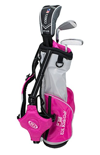 "U.S. Kids Golf Ultra Light 39"" Height, 3 Club Carry Golf Set with Bag, Silver/Pink, Right Hand"