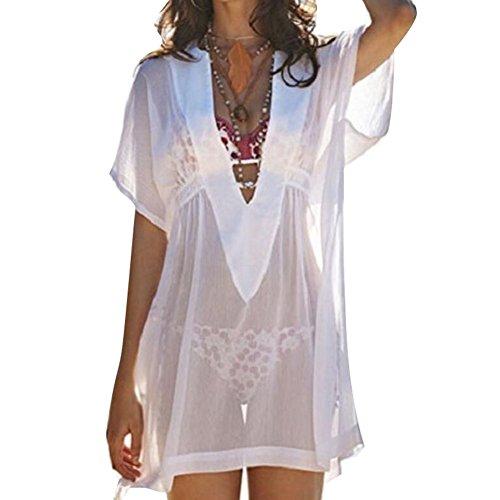 Highdas Damen Frauen Weiß Bikini Cover Up Tief VAusschnitt Boho Sommer  Kaftan Strandkleid EU XSEU L Weiß