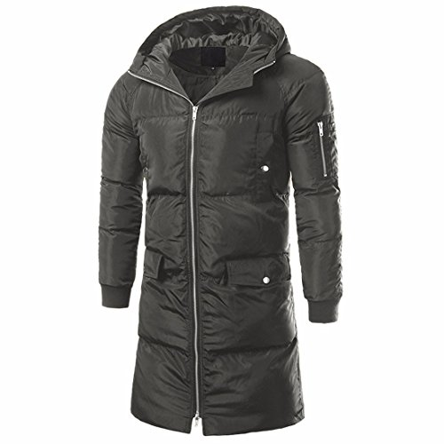 QIYUN.Z Männer Winter Kapuzen Baumwolle-Gepolstert Dicken Mantel Lange Jacken Grün