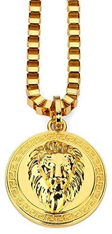 Hip Hop Style Modische vergoldet 2 Farben Große 3D-Löwe-Kopf-Münzen-Anhänger-Halskette