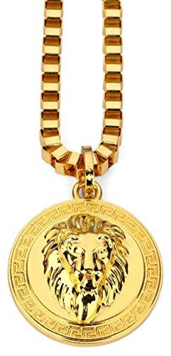 Hip Hop Style Modische vergoldet 2 Farben Große 3D-Löwe-Kopf-Münzen-Anhänger-Halskette (Gold)