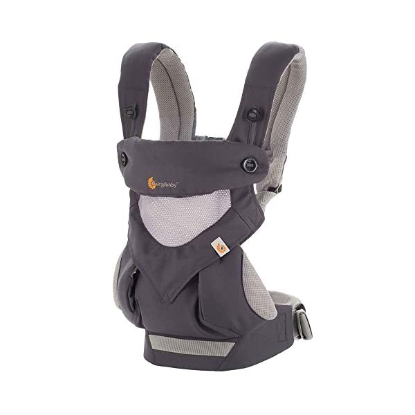 Ergobaby Baby Carrier for Toddler, 360 Cool Air Carbon Grey, 4-Position Ergonomic Child Carrier and Backpack Ergobaby Ergonomic baby carrier for the summer, with 4 ergonomic carry positions: front-inward, back, hip, and front-outward. The carrier is suitable for babies and toddlers weighing 5.5-15 kg, and can be used as a back carrier. Also with insert for newborn babies weighing 3.2-5.5 kg (7-12 lbs), sold separately. NEW - The waistbelt with lumbar support can be worn a little higher or lower to support the lower back and provide optimal comfort, and has adjustable padded shoulder straps. The carrier is suitable for men and women. Maximum baby comfort - Breathable 3D air mesh material provides an optimal temperature for your baby on warm days. The structured bucket seat supports the correct frog-leg position for the baby. The carrier also has a neck support and privacy hood with 50+ UV sun protection. 1