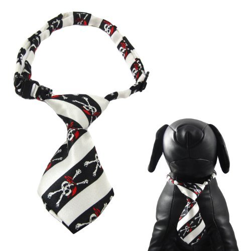 Alfie Pet by Petoga Couture - Qun Formal Dog Tie and Adjustable Collar - Color: Black and White Stripe, Size: 13 - 17.5 for Dogs and Cats by Alfie (Couture Black Tie)