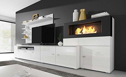 Home innovation- Moderne Wohnwand, TV-Lowboard, Esszimmer mit Kamin Bioethanol, Schrankwand, Wohnzimmer, Kamineinsatz, Verarbeitung weiß Mate und weiß