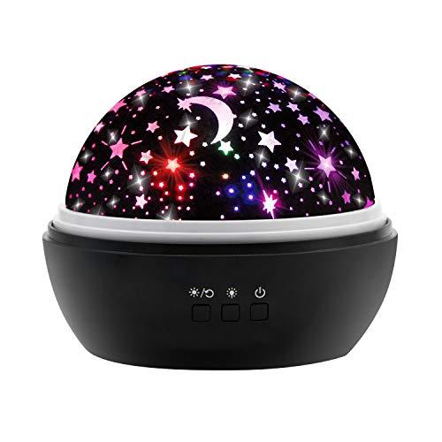 (Sternenhimmel Projektor Lampe, Ifecco LED Nachtlicht Lampe 360° RotierendBeleuchtung mit 8 Romantische Licht, Perfektes Geschenk für Babys, Kinder, Geburtstag, Weihnachten, Halloween (Schwarz))