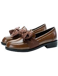RegbKing Zapatos De Barco Zapatos Planos Mocasines Retro Zapatos De Cuero Con Nudo De Lazo Zapatos