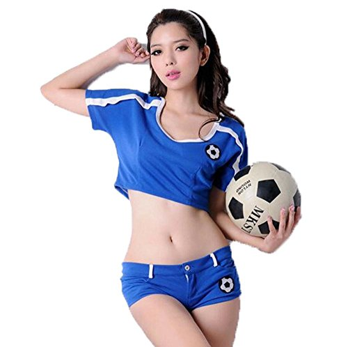XIXI Dame-blaue Cheerleader-Abendkleid-Partei-Halloween-Kostüm-Ausstattung (blau, freie Größe) , blue , one (Office Kostüme Halloween Supplies)