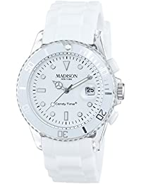 MADISON NEW YORK - U4399/1 - Montre Mixte - Quartz - Analogique - Eclairage - Bracelet Silicone Blanc