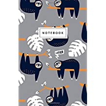 """Notebook: Sleepy Sloth Notebook - Beautiful Design: 5.5"""" x 8.5"""" lined pages. Great for note-taking/Composition/Writing/Planning/Diary/Gift"""
