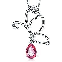 14K oro bianco 2,5ct Topazio Rosa Farfalla Collana Con Ciondolo Diamante 0,12CT