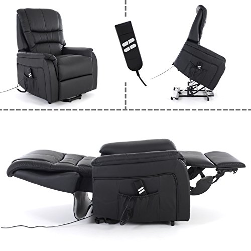 MACOShopde by MACO Möbel Fernsehsessel mit Aufstehhilfe, 2 Motoren, Liege- und Relaxfunktion aus Kunstleder in Schwarz