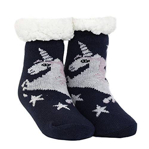 Brinny Kinder Junge Mädchen Hüttensocken Teddyfutter Strümpfe mit ABS Sohle Innenfell Dicke Warme Wintersocken Norweger Kuschelsocken Unicorn Weihnachten 2-9 Jahren