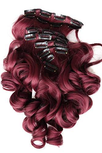 Prettyshop xxl set 8 pezzi clip nelle estensioni estensione dei capelli parte dei capelli fibra sintetica termoresistente ondulato 60 cm rosso bordeaux # 118 ces10-1