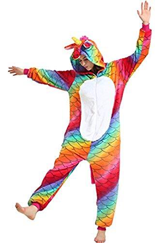 Yigoo Pyjama Jumpsuit Oneise Overall Damen Einhorn Tier Herren Lang Karneval Kostüm Cosplay Fleece mit 3D Kapuze M (My Für Pony-kostüm Little Erwachsene)