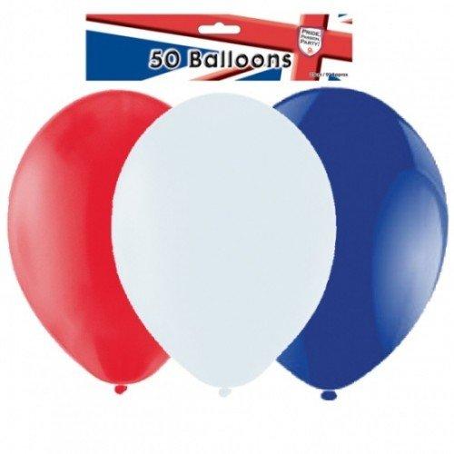 Amscan PPP Latex-Ballons UK 23cm, rot/weiß/blau, 23cm