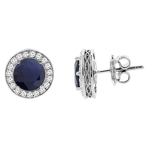 gold, mit natürlichem HQ Blue Sapphire Halo-Ohrringe mit Diamant-Details, 3.56 cm breit (Sapphire Halo Ohrringe)