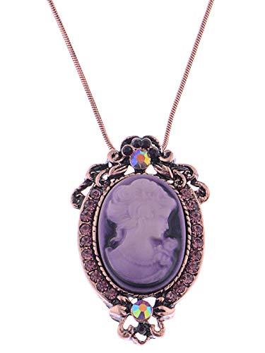 Alilang Kupfer Tone Lila Strass Vintage inspirierte Cameo Dame Anhänger Kette Halskette