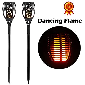 Outdoor Lighting Securitying Flickering Flame Solar Powered Light Waterproof 96 Led Tiki Fire Torch Night Lantern Auto On/off Lamp For Garden