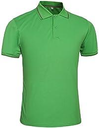 Yonglan Hombre Polo Camiseta Manga Corta Color Sólido Camisas Clásico Básico Botones Verde 2XL