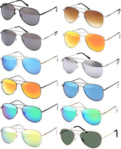 Pilotenbrille Sonnenbrille 70er Jahre Herren & Damen Sunglasses Fliegerbrille verspiegelt (Silver)
