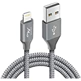 Wayona Nylon Braided USB Data Sync & Charging Cable for iPhones, iPad Air, iPad Mini, iPod Nano and iPod Touch (6 FT Pack of 1, Grey)