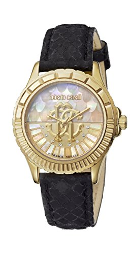 Roberto Cavalli LOGO DIAL Women's Swiss-Quartz Black Leather Strap Watch