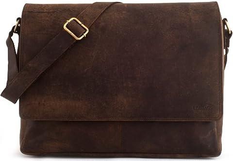 LEABAGS Oxford genuine buffalo leather messenger bag in vintage style - Nutmeg