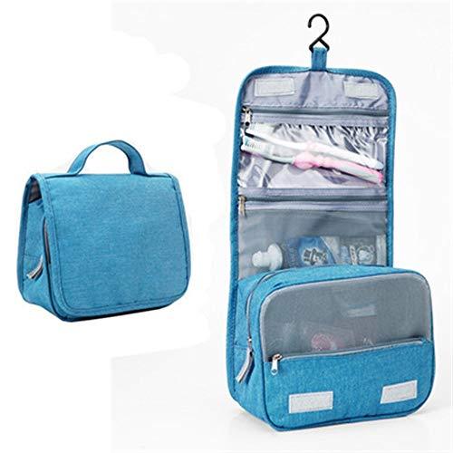 Dauerhaft Faltbarer Kosmetischer Kulturbeutel Des Reise-Make-up Mit Haken-Organisator-Tasche Für Make-up, Rasierzeug, Haar-Zusatzgeräte (Color : Blau)