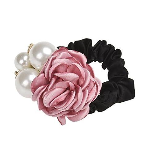 Bijoux De Tete, Kolylong® Perles Perles Fleur Rose Band Cheveux Corde Titulaire Chouchou Ponytail (Rose)