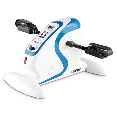 Klarfit Cycloony Minifahrrad für Beine und Arme - Mini-Bike, Pedaltrainer für Muskelaufbau, Heimtrainer, 70 W, 12 Geschwindigkeitsstufen, Trainingscomputer, Vor- oder Rückwärtslauf, weiß-blau