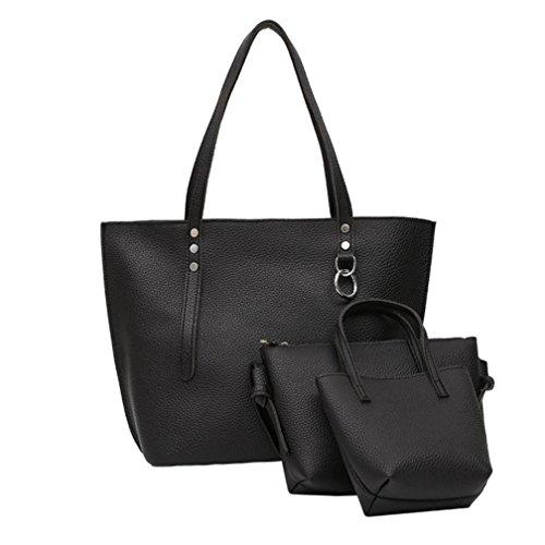Hunpta 3Pcs Frauen Litchi Muster Leder Schultertasche mit Handtasche und Clutch Wallet Schwarz