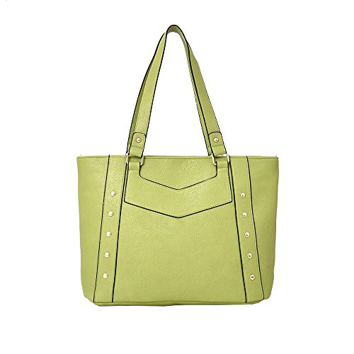 Hautefordiva , Damen Tote-Tasche Gelb-Braun L lichtgrün