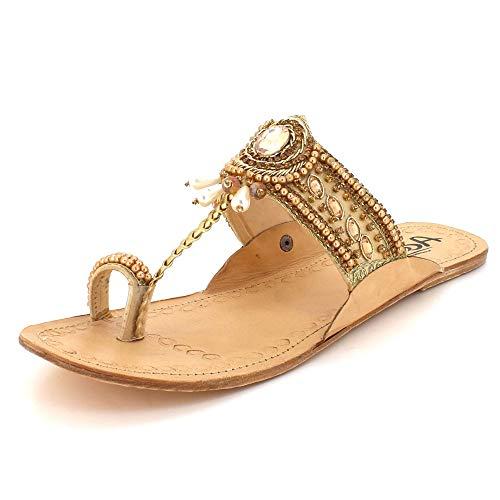 Frau Damen Dabgling Perlen Offener Zeh Authentisch Kolhapuri Chappal Beiläufig Komfort Schlüpfen Eben Sandalen Schuhe Gold Größe 39 -