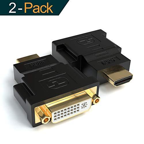JAMEGA - DVI-I zu HDMI Adapter 2er Pack | DVI-I (24+5) Buchse auf HDMI Stecker | 4K Ultra HD Full HD 1080P HDTV Konverter | Kontakte vergoldet - Dvi-buchse