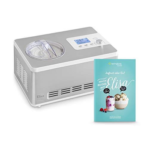 Eismaschine und Joghurtbereiter Elisa 2,0 L mit selbstkühlendem Kompressor 180W inkl. Rezeptheft, Ice-Cream & Joghurt-Maker aus Edelstahl mit Kühl- und Heizfunktion, Abschaltautomatik